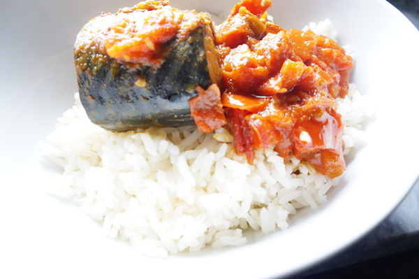 Stewed Mackerel on Rice