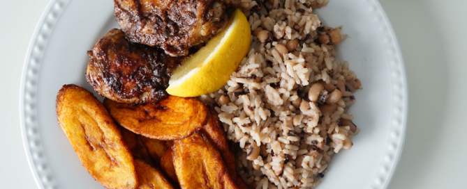 oven - baked - jerk - chicken - jamaican - nigerian - west - african - original - easy - simple - plantain - rice - peas - coconut - cream