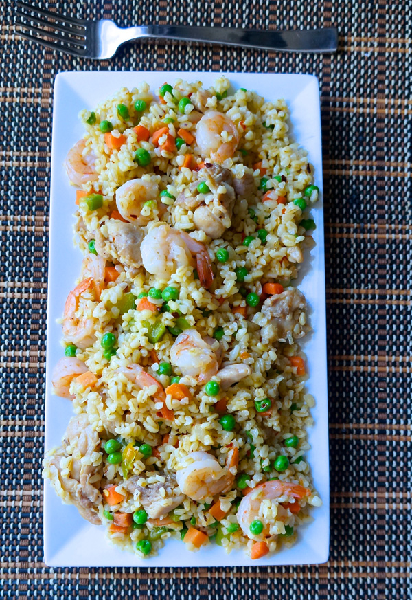 chicken - shrimp - fried - bulgur - rice - healthy