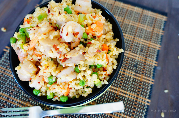 bulgur - wheat - recipe - chicken - shrimp - easy - healthy - nigerian - weight - loss - food