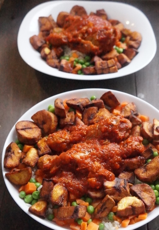 Nigerian Rice and stew - popular food