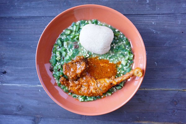 okra and garri healthy - nigerian swallows