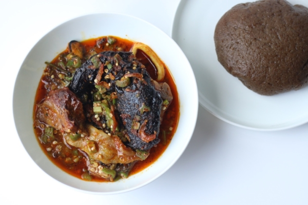 Keto low carb aubergine eggplant amala fufu swallow and soup